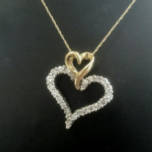 Pendants chains rainbow jewelers llc 14 karat yellow gold double heart pendant with 50 carat diamonds total weight with yellow gold snake chain item no 09 007ej mozeypictures Gallery