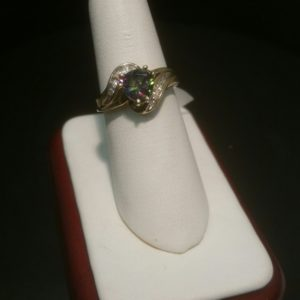 10K Ladies Yellow Gold Ring with one 6mm Trillion Mystic Topaz with 10 Diamonds 10-186EJ