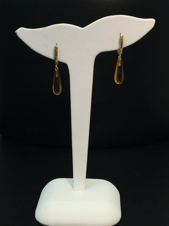 14K Yellow Gold lever back Amber drop earrings