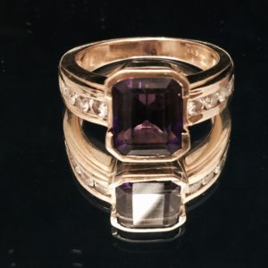 Modern Deco Ring AA Emerald cut Amethyst